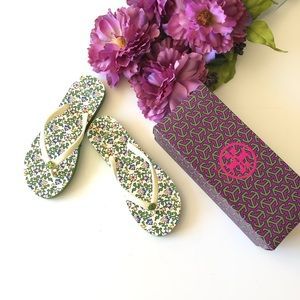 FINAL FIRM $ Tory Burch Thin Floral Flip Flop